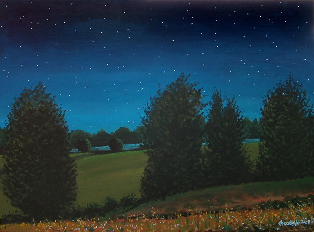"Into the Night Landscape, 2008  31"" x 40"" Acrylic on canvas"