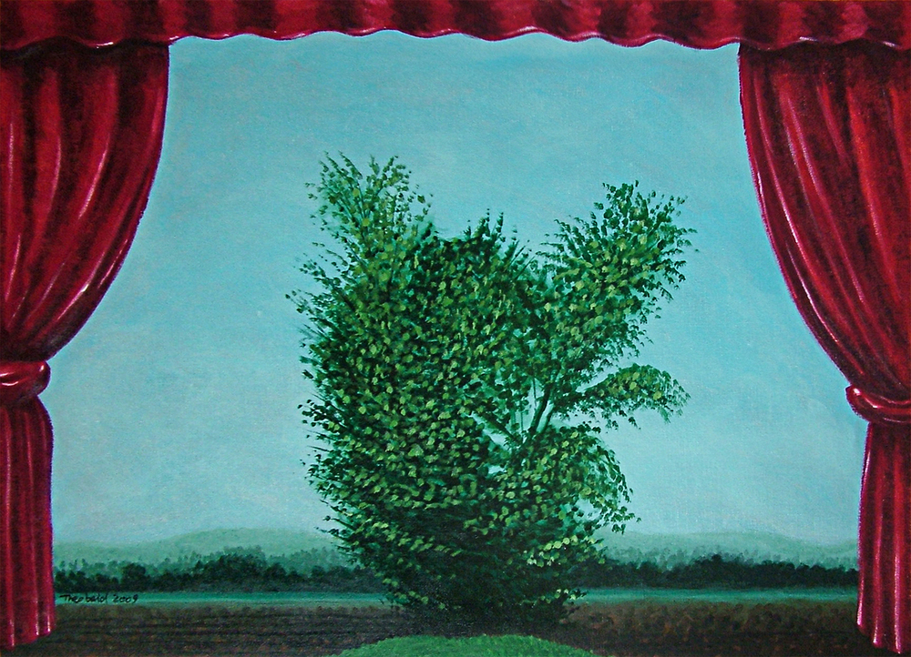 "A Tree in Act I, Scene 2, 2009  26"" x 36"" Acrylic on canvas"