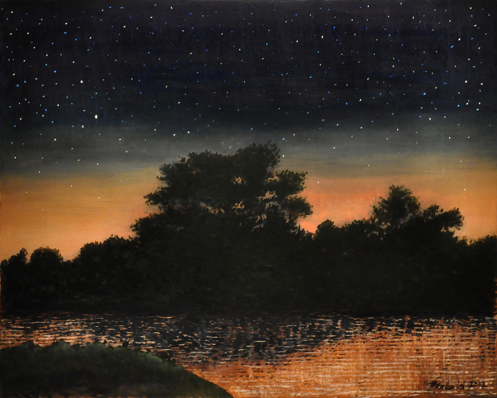 "Stars at Dusk, 2012  32"" x 40"" Acrylic on canvas"