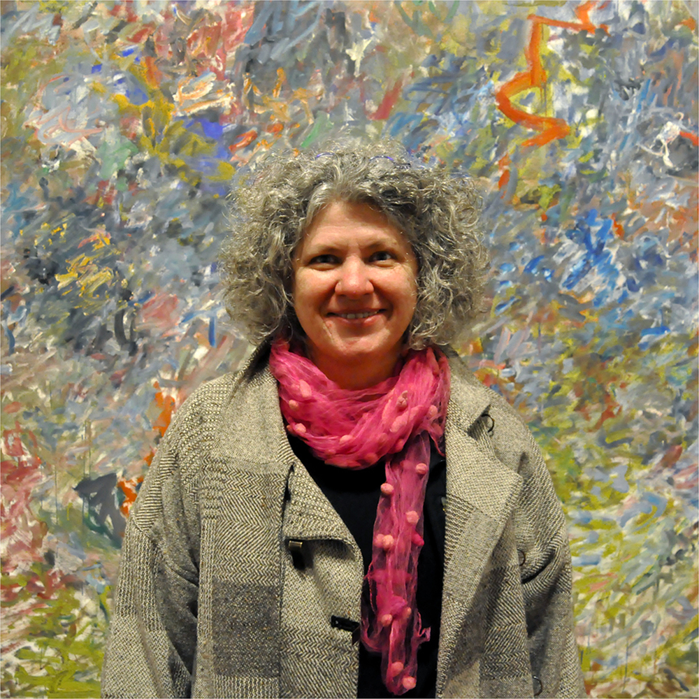 "Annegret Reichmann with Joan Mitchell Painting, 2011   24"" x 24"""