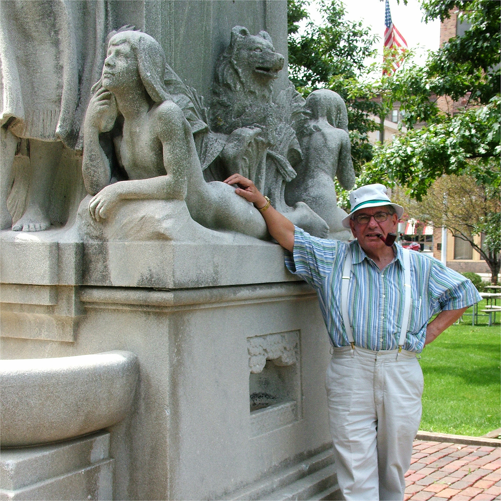"C. Vincent Franco with Lorado Taft in Bloomington, 2009   24"" X 24"""