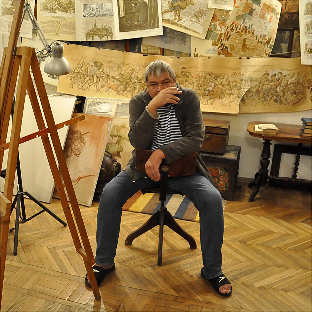 "Sergei Semenov in Moscow Studio, 2011   24"" x 24"""