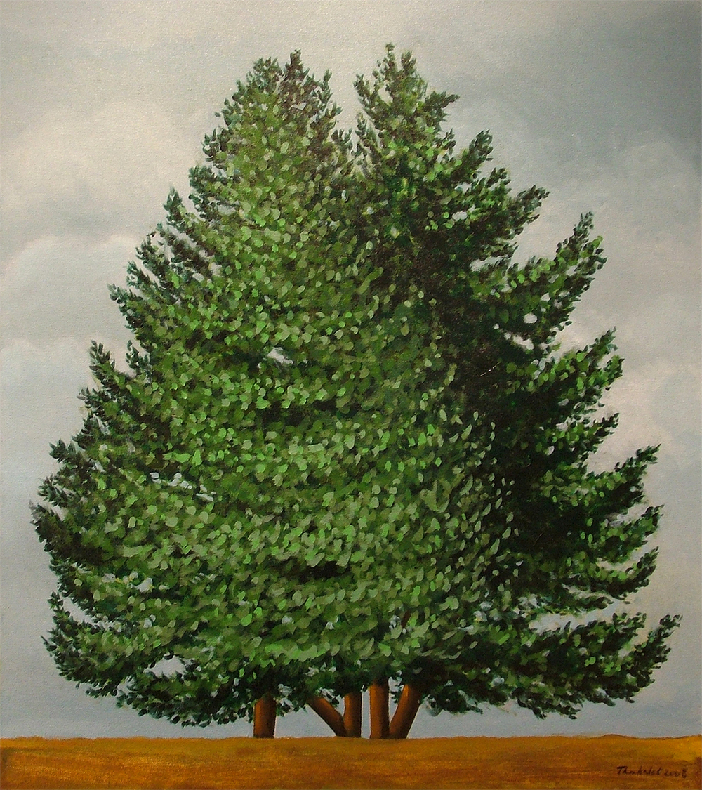 "Three Trees, 2008  36"" x 32"" Acrylic on canvas"