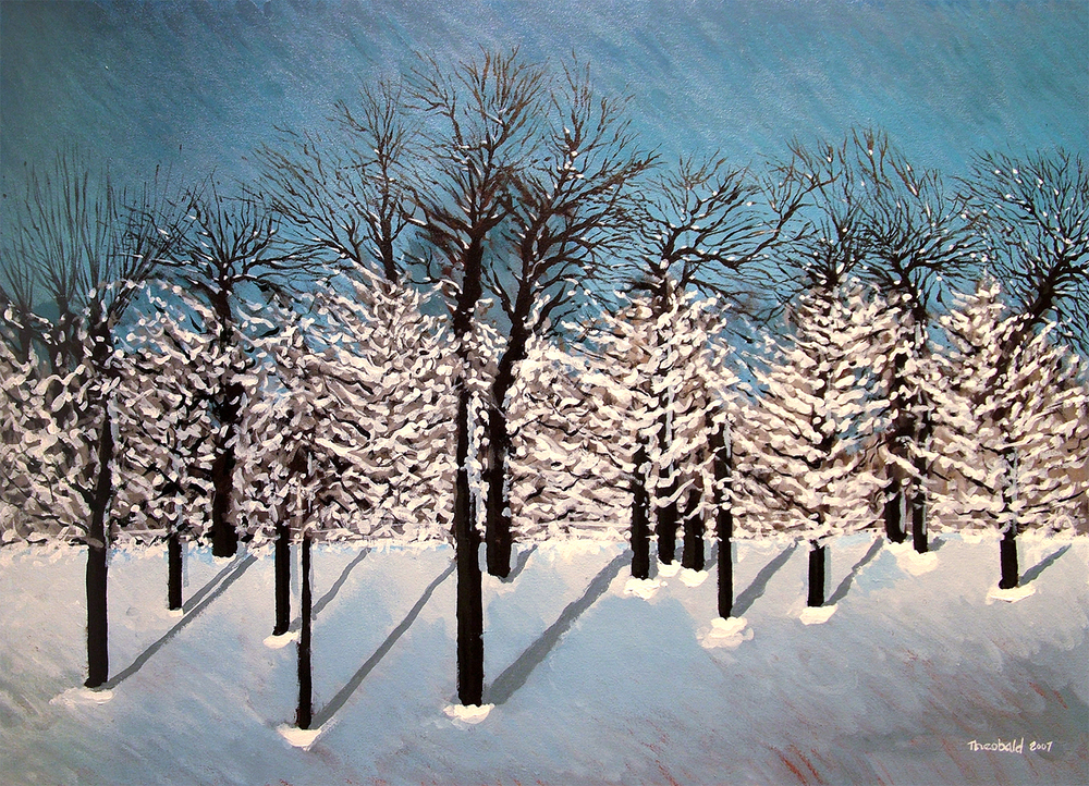 "Snow, 2007  26"" x 36"" Acrylic on canvas"