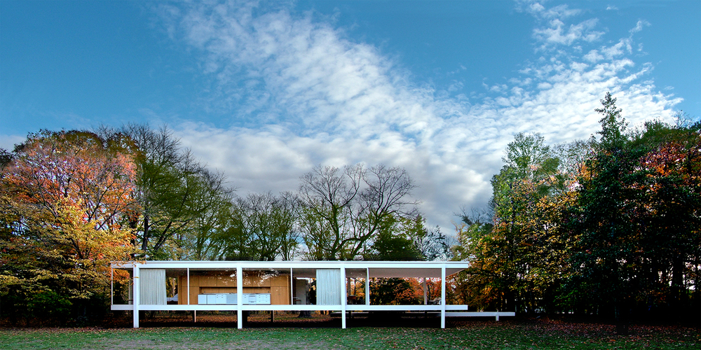 "Farnsworth House Fall Clouds, 2007  24"" x 48"""