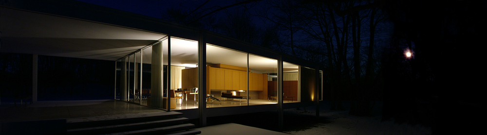"Farnsworth House Front Night, 2008  20"" x 72"""