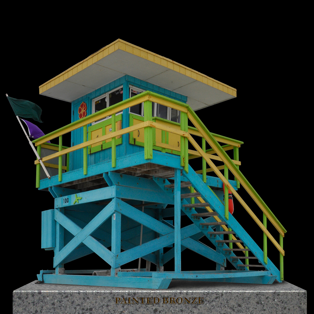 "Painted Bronze Life Guard Station 1, 2012   40"" x 40"""