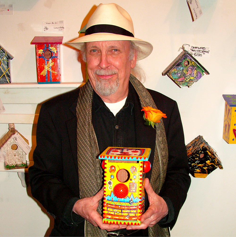 "John Kurtz with Bird House, 2010   24"" x 24"""