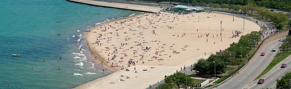 """Oak Street Beach, 2005  25"""" x 72"""""""