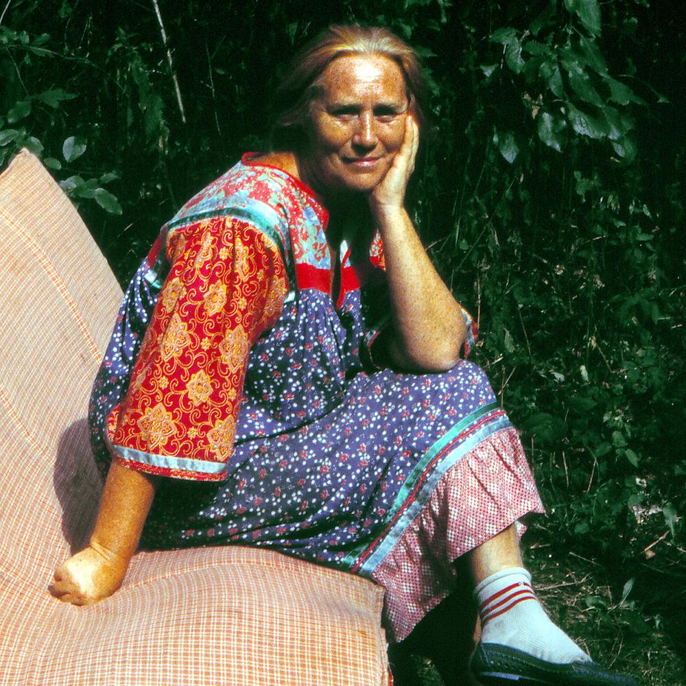 """Rosa Timchenko in Dacha Garden, 1992  24"""" x 24"""""""