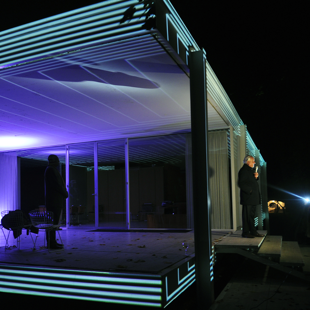 "Dirk Lohan at Farnsworth House for Luftwerk Project, 2014  24"" x 24"""