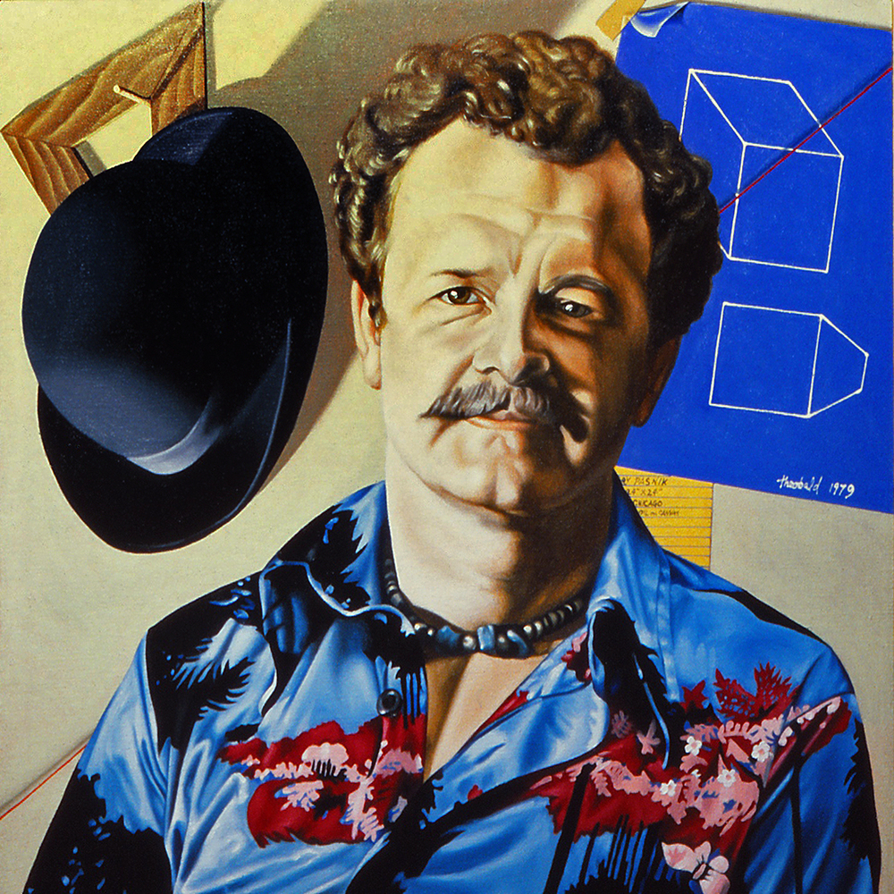 "Portrait of Gary Pasnik, 1979  18"" x 18"" Oil on linen"