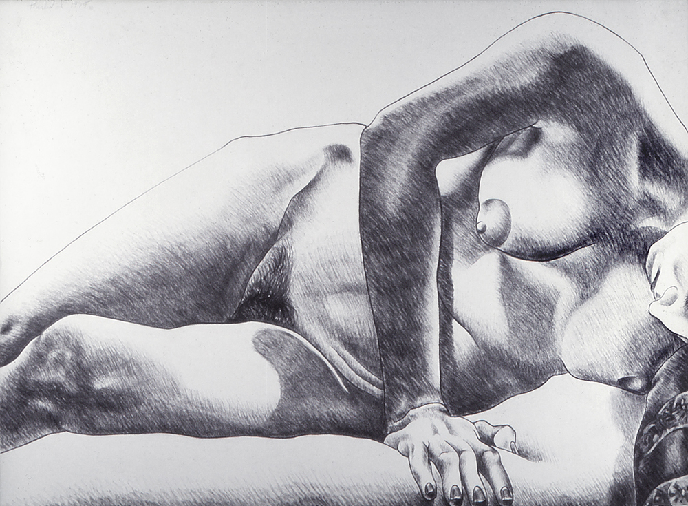 Model on Soft Blanket, 1975  Charcoal on Rives