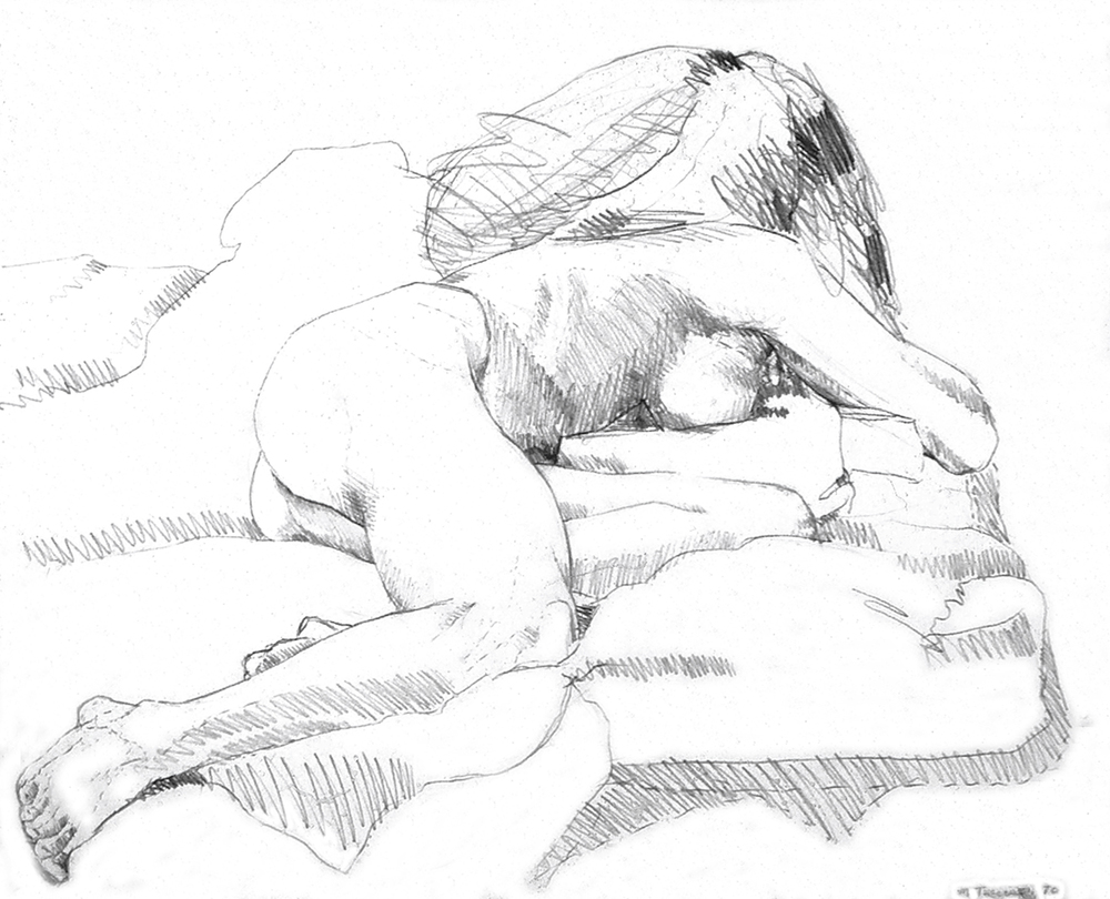 Nude on Her Stomach, 1970  Pencil