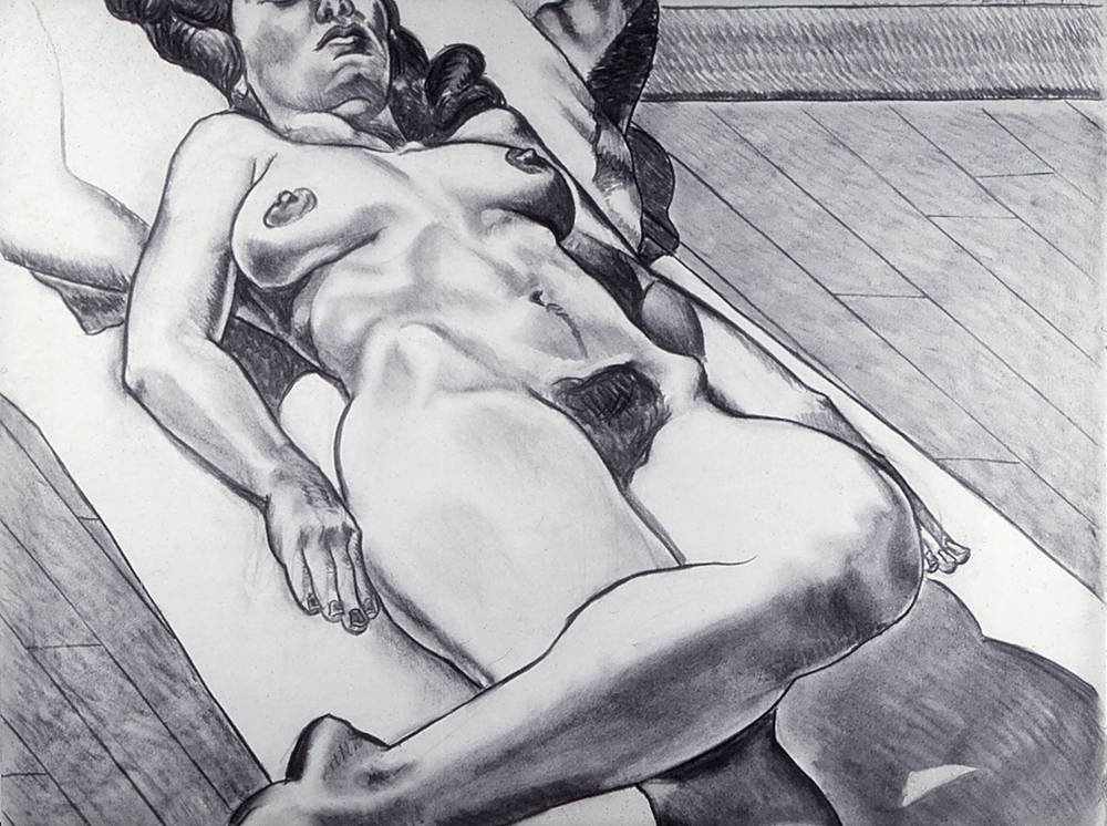 Reclining Figure, 1974  Charcoal on Rives