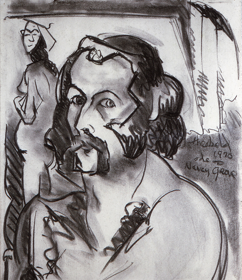 Self Portrait-Ode to Nancy Grove 1970  Charcoal