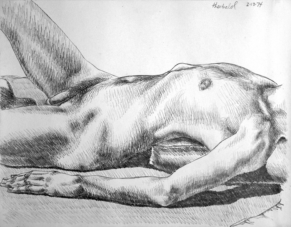 "2.13.74, 1974  7"" x 9"" Pencil on Rives BFK"
