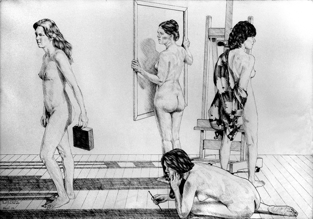 "The Artist Disarmed by Venus and the Three Graces, 1980  30"" x 41"" Charcoal on Rives BFK"