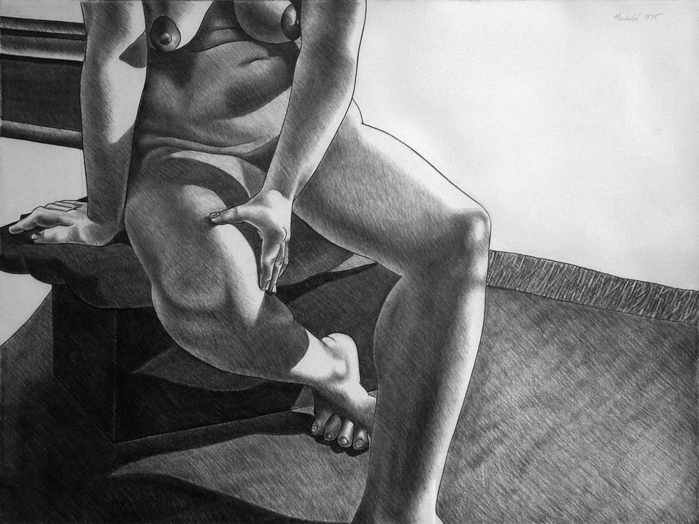 "Seated Model, 1975  26"" X 20"" Charcoal on Rives"
