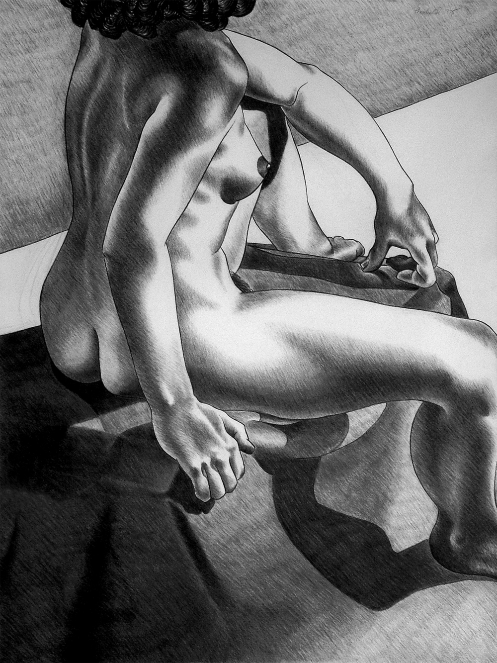 "Laurie's Back, 1975  26"" X 20"" Charcoal on Rives"
