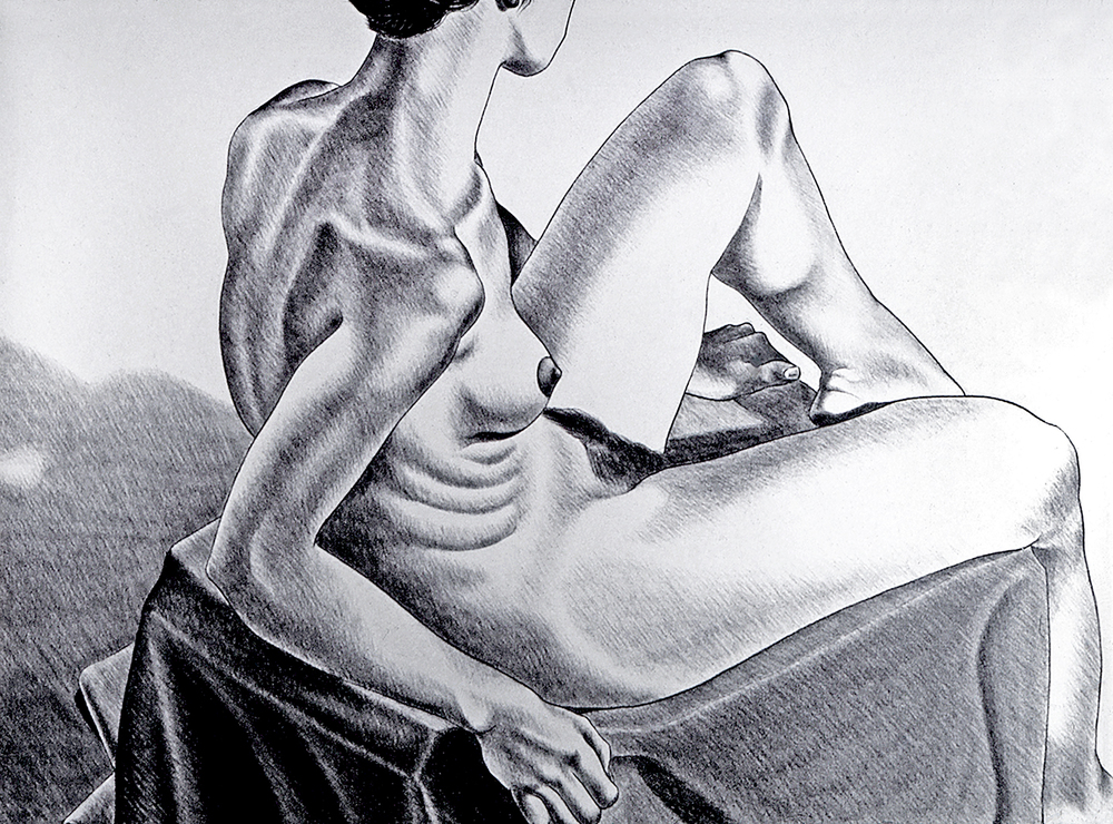 Model on Blanket, 1975  Charcoal on Rives