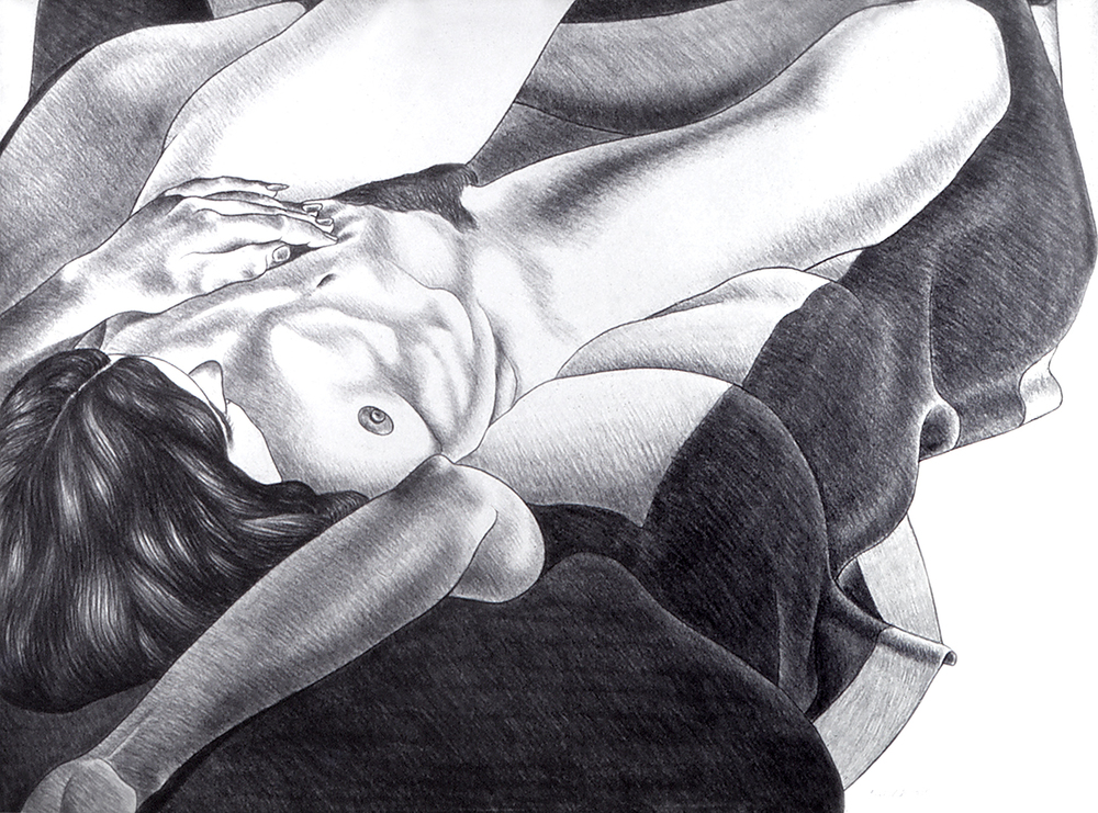 Nude on a Black and White Blanket, 1975  Charcoal on Rives