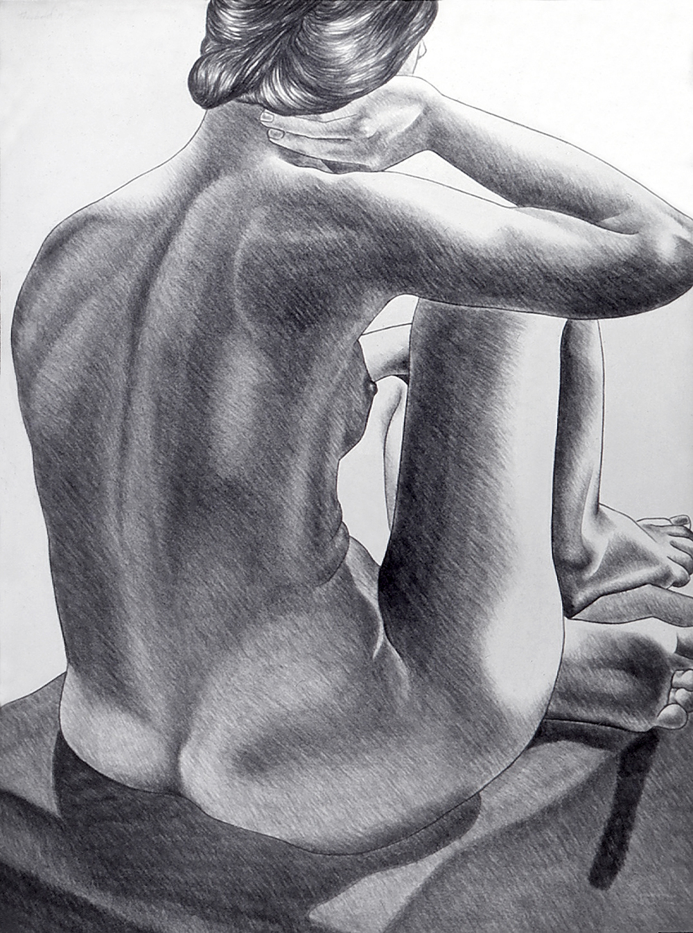 Nude on a Purple Blanket, 1975  Charcoal on Rives