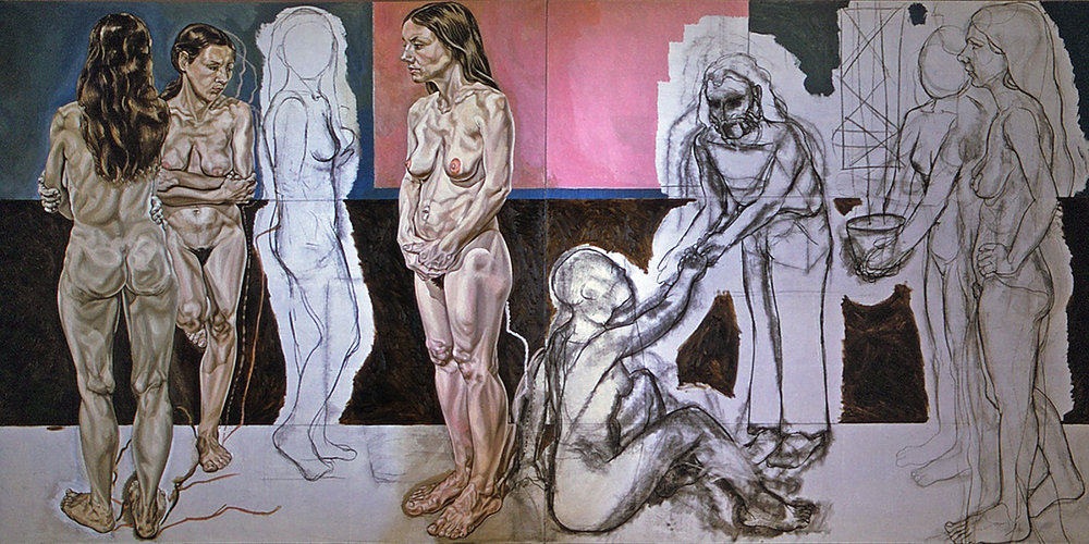 "Three Nudes with Red Studio (unfinished diptych), 1972  72"" x 144"" Oil, charcoal on linen"