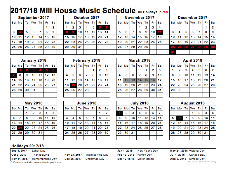 2017 2018 Calendar The Mill House School Of Music