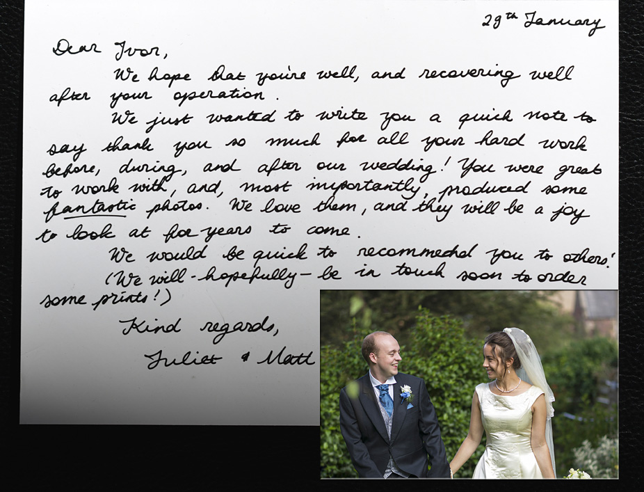 Hand written testimonial from newlywed couple.