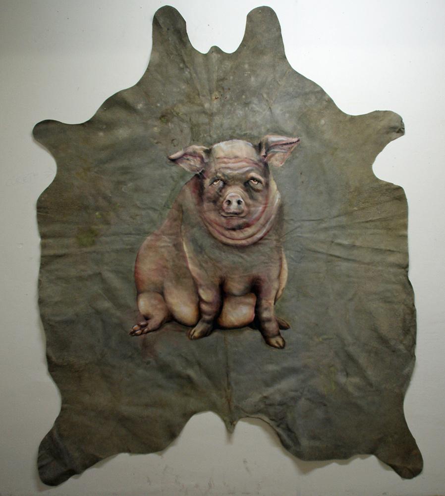 untitled, 2012, 220x180 cm, oil on buffaloskin