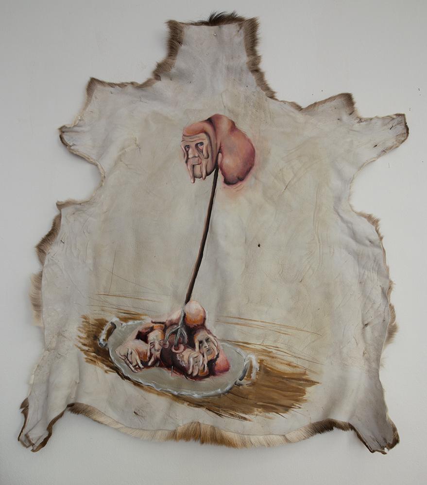 untitled, 2012, 140x120 cm, oil on deerskin