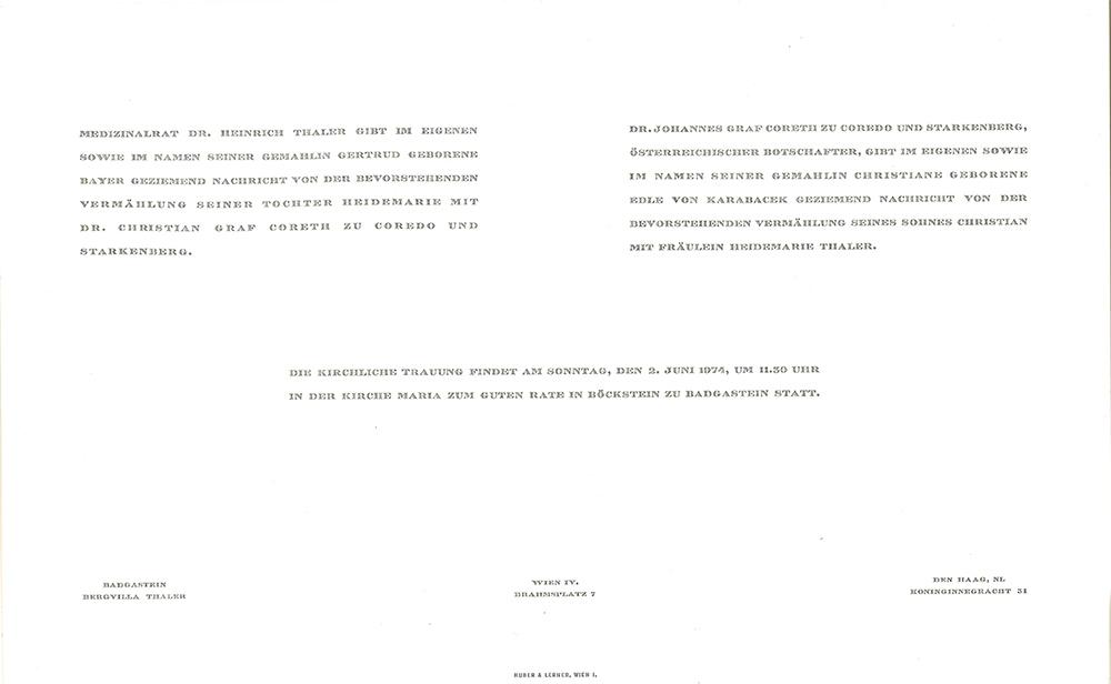 Wedding invitation original, print 1974