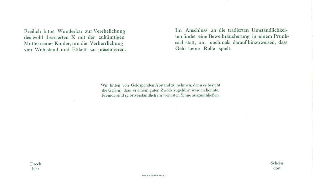 Wedding invitation interpretation, print 2012