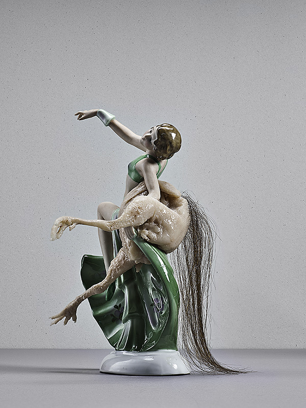 untitled (dancer), porcellain, silicone, human hair, 20 x 8 x 10 cm, 2015