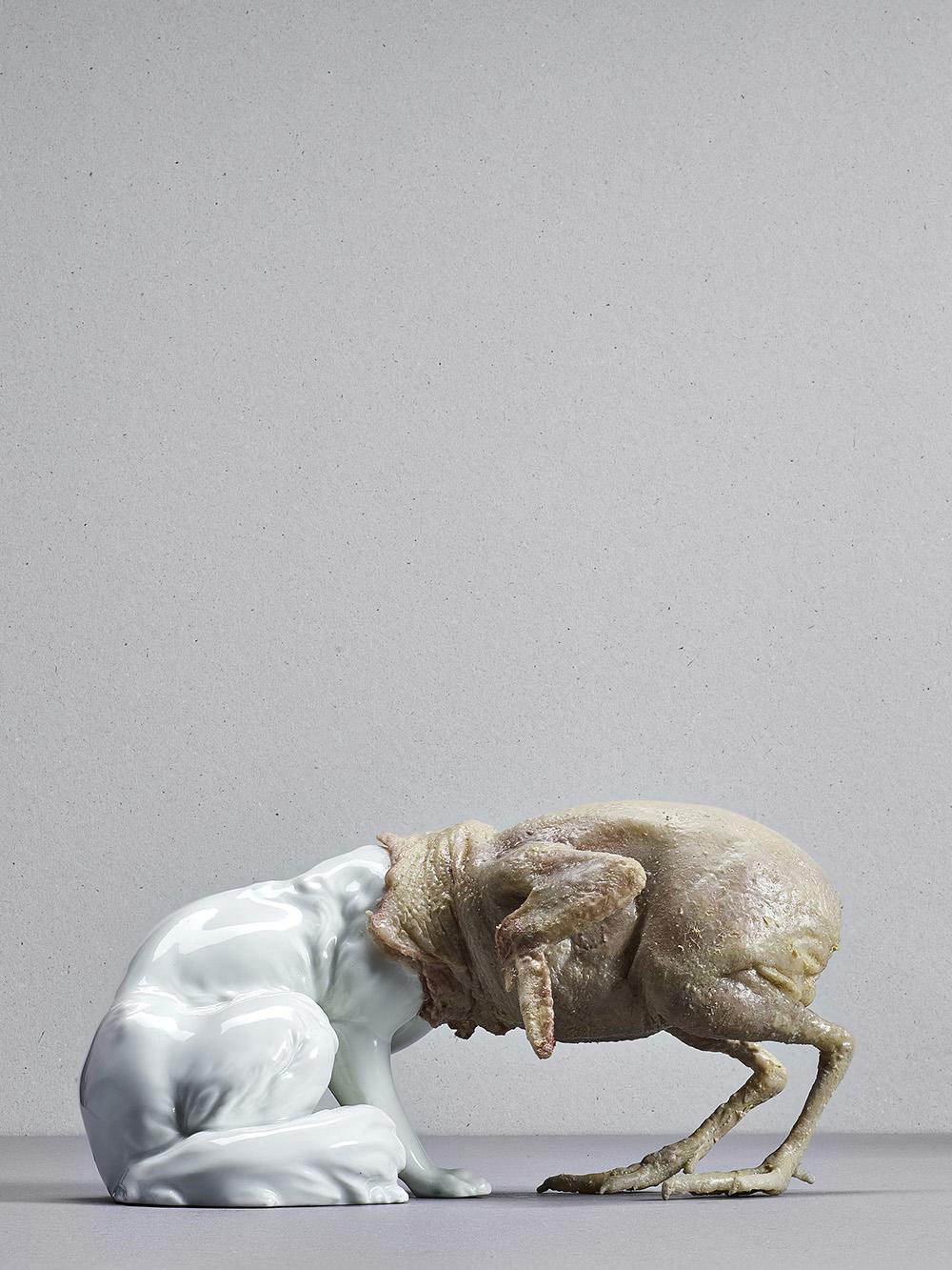 untitled (desertfox), Augarten porcellain, silicone, silicone paint, 15 x 8 x 20 cm,2015