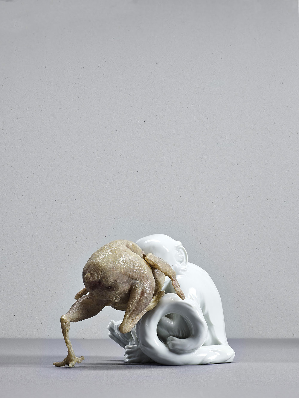 untitled (monkey), Augarten porcellain, silicone, silicone paint, 15 x 10 x 10 cm, 2015