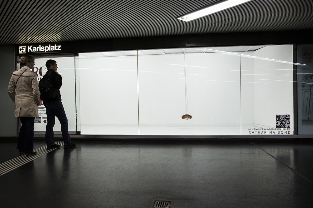 "Object, Installation     ""Leberkaese THEODOR""  at Karlsplatz subwaystation 