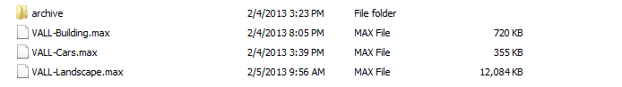 Main file listing. These are the active 3ds Max files I'm working on for this project.