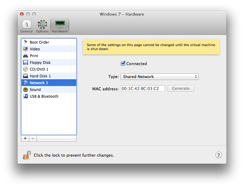 Parallels config