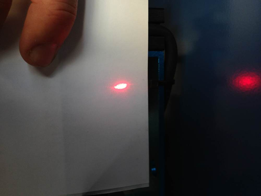 The red diode dot in front of mirror 1