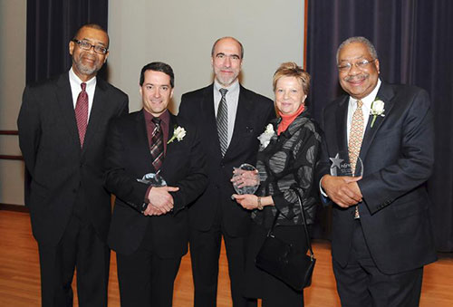 (left to right) Cephas Bowles, Jacques Lacombe, Lawerence Tamburri, Mary Sue Sweeney Price and Dr. Clement A. Price