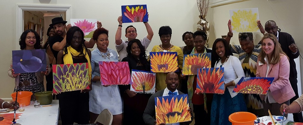 Newark Leadership Council held their team building event> we did a Paint Party with Artist and Faculty Member Raymond Horner.  Here they are with their masterpieces.