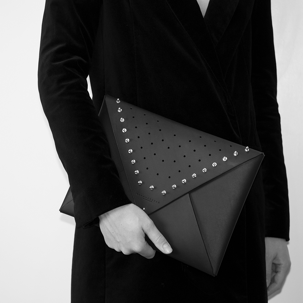 Leather Envelope Clutch - studded (large)_model.jpg