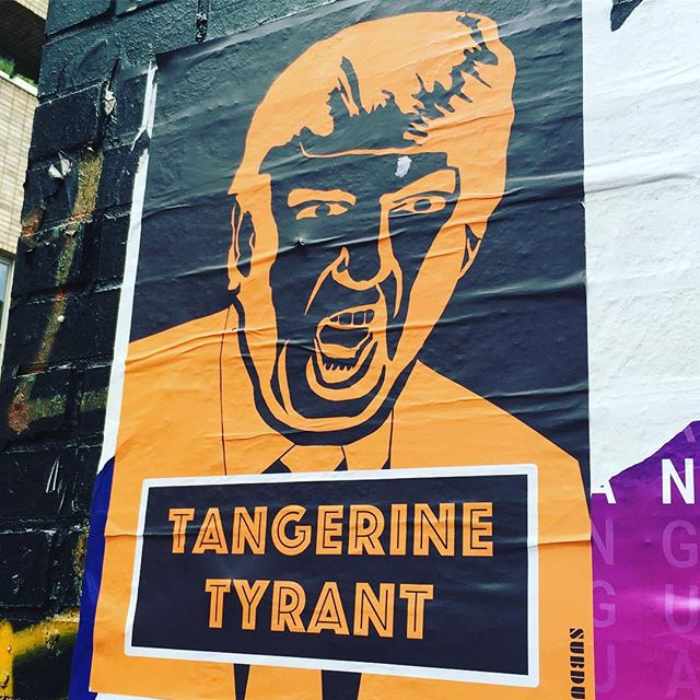 😡😡😡 the Presidential visit is inspiring east london's street artists. Q like this one tbh #tangerine #streetart #london🇬🇧