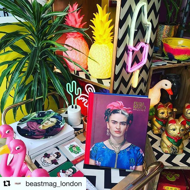 Thanks to @beastmag_london for this fab pic of the window at one of our @boxpark #shoreditch  shops THE GIFT BOX #fridakahlo #NEON #pineapple #london🇬🇧