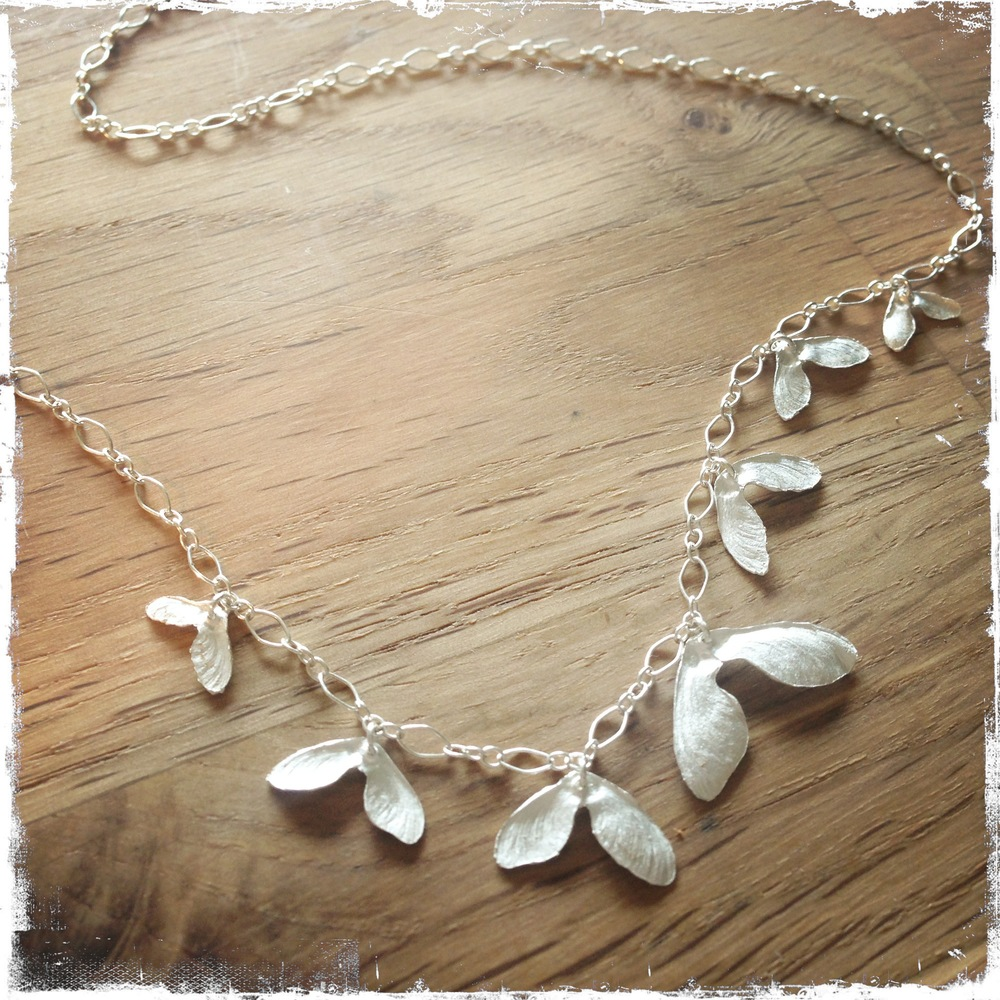 Japanese Maple Seed Necklace  Recycled fine silver, sterling  Private Collection