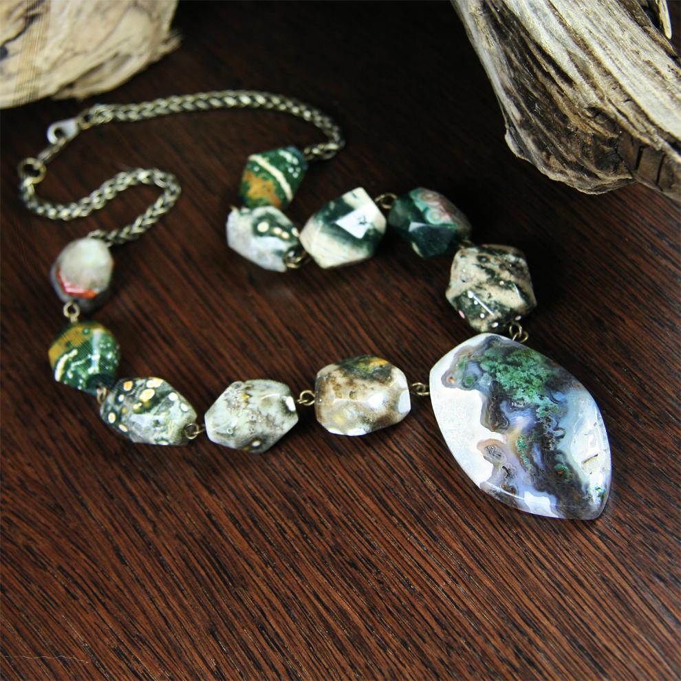 Moss agate pendant with rainforest jasper beads