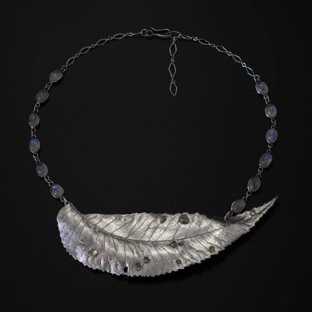 Pecan Leaf Necklace with Dew Drops  Recycled Fine Silver, moonstone, labradorite  Private Collection