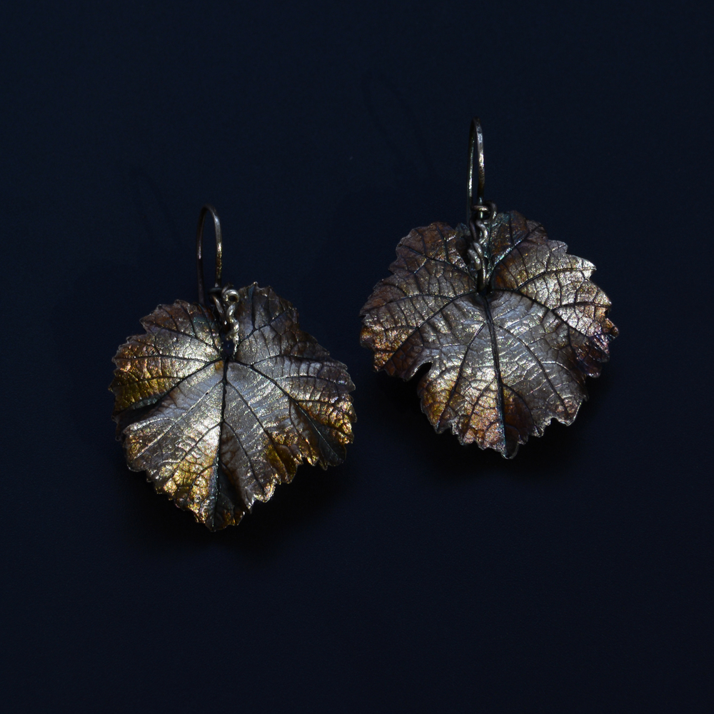 Grape Leaf Earrings  Recycled Fine Silver  Private Collection